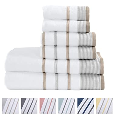 Great Bay Home 6-Piece Luxury Hotel/Spa 100% Turkish Cotton Striped Towel Set, 500 GSM. Includes Bath Towels, Hand Towels and Washcloths. Noelle Collection Brand. (Glacier Grey/Capuccino)