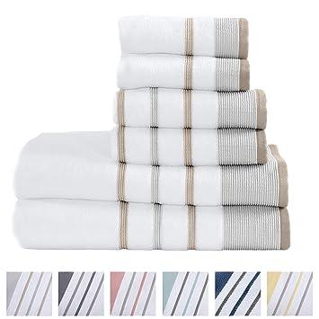 Amazon.com: Great Bay Home - Juego de 6 toallas de lujo para ...