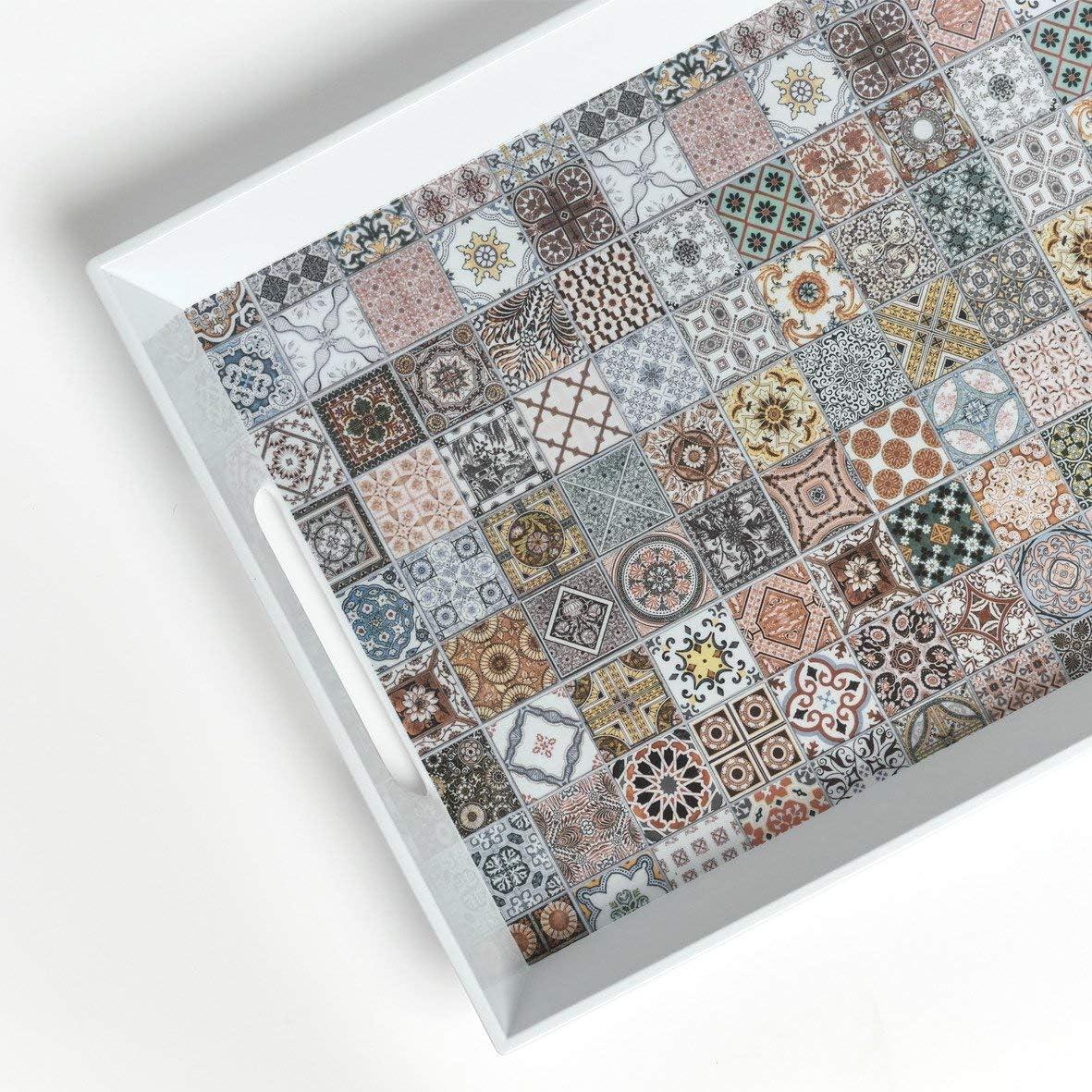 Zeller Mosaic Bandeja de cocina melamina, 50 x 35 x 5 cm