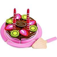 Hape - E3140 - Jeu d'Imitation en Bois - Cuisine - Gâteau d'Anniversaire Fraise-Chocolat