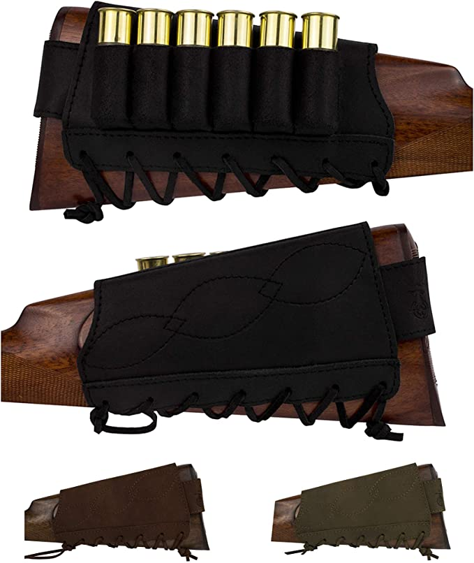 Cow Leather Rifle Gun Buttstock Protector Shell Holder,Cartridge 45-70 308 30-06