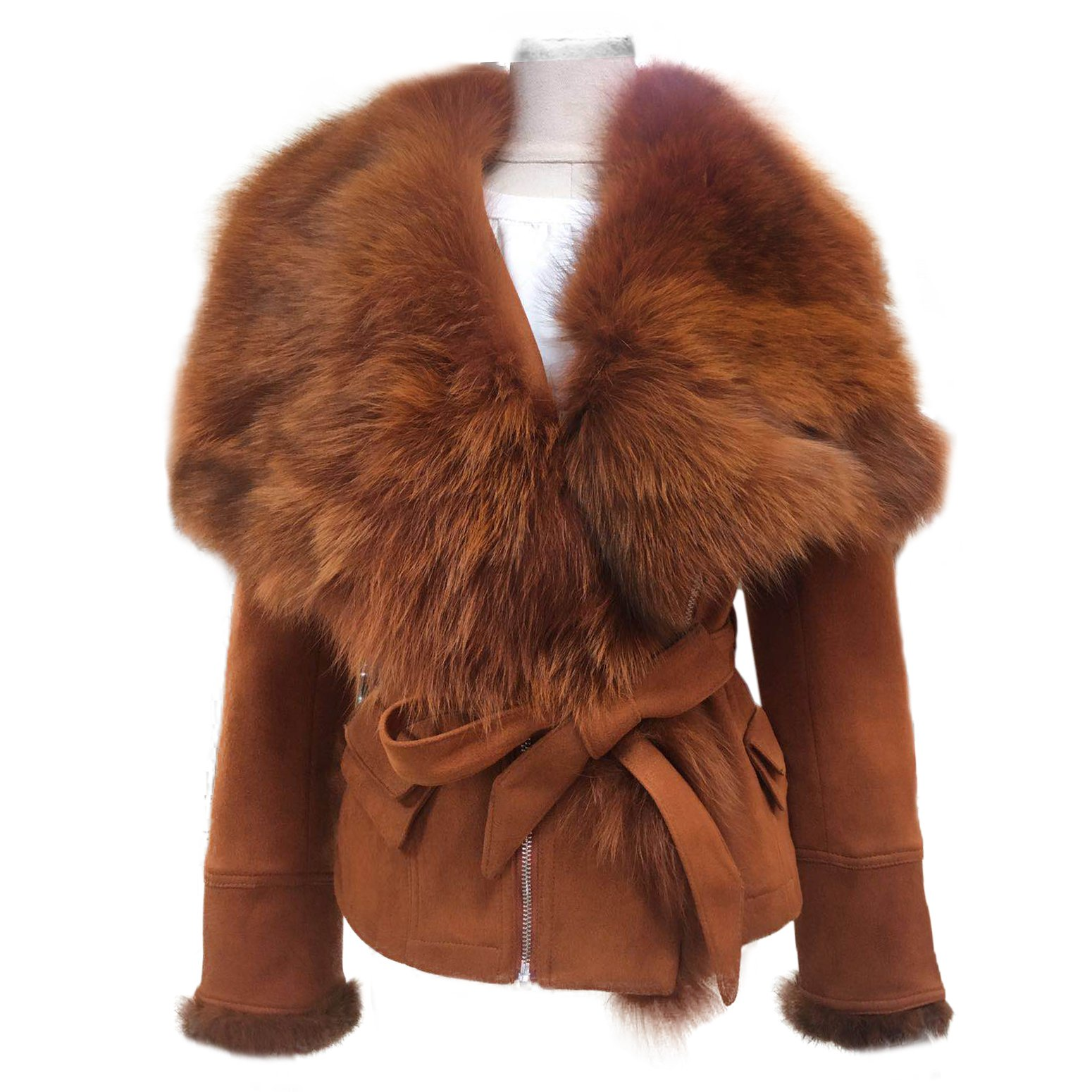 She'sModa Real Fox Fur Collar Coat With Belt Slim Fit Women's Winter Suede Caramel Leather Jackets XL