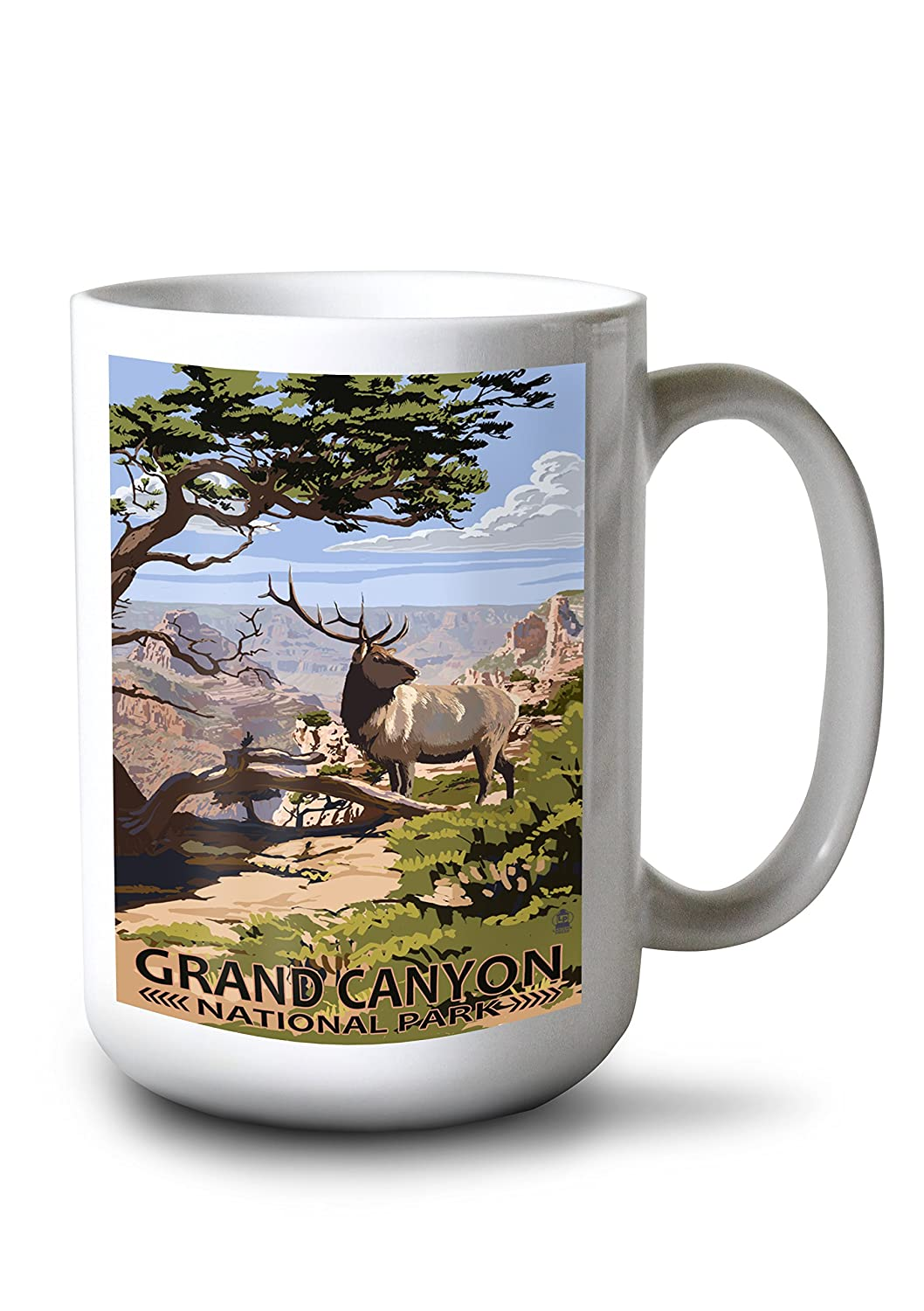 Grand Canyon National Park – Elk and South Rim 15oz Mug LANT-3P-15OZ-WHT-36687 B077RZDMGM  15oz Mug