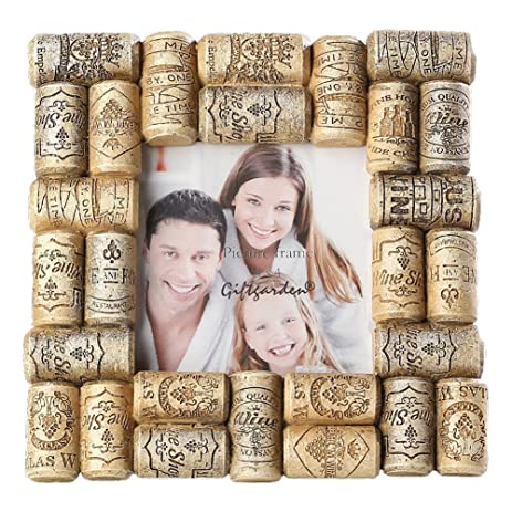 giftgarden 4x4 square picture frame wine corks frames for 4 by 4 inch photo display friend - Wine Picture Frames