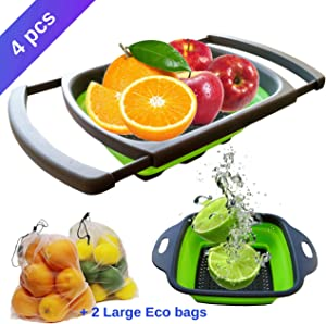 4 Pc Set with Adjustable Over the Sink Collapsible Colander, Small Silicone Strainer and 2 Bonus Eco Friendly Fruit and Vegetable Mesh Bags for Shopping, Refrigerator or Pantry Storage in the Kitchen