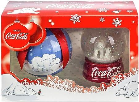Coca Cola Gift Set Polar Bears Snow Globe /& Christmas Tree Bauble In Box New