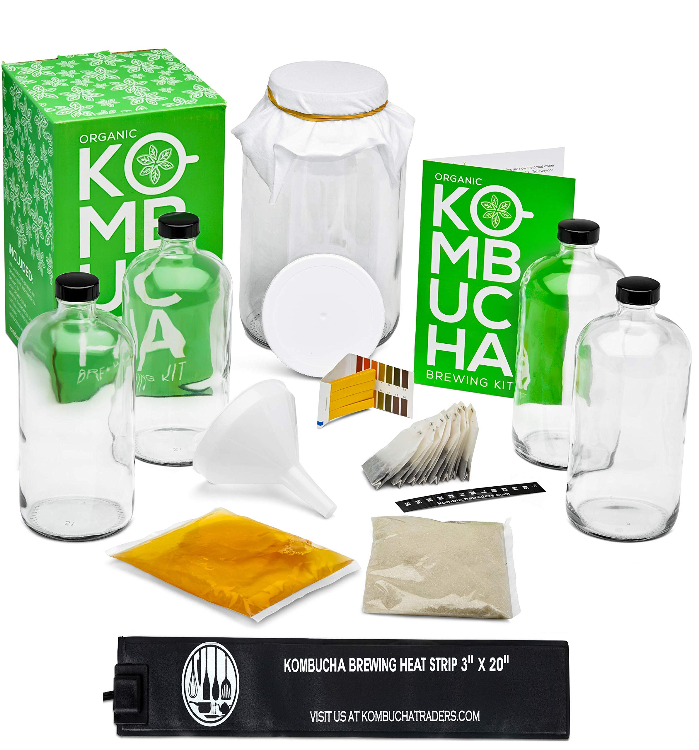 Kitchentoolz Two Phase Kombucha Starter Kit w/Heat Wrap- Kombucha Jar, Kombucha Bottles, Scoby and Basic Ingredients for a Full Kombucha Experience (Clear Bottles)