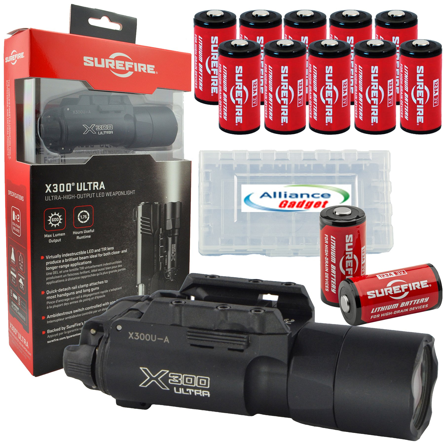 Surefire X300U-A Ultra High Output 600 Lumens LED Weapon Light with 12 Extra Surefire CR123A and 3 Alliance Gadget Battery Case by SureFire