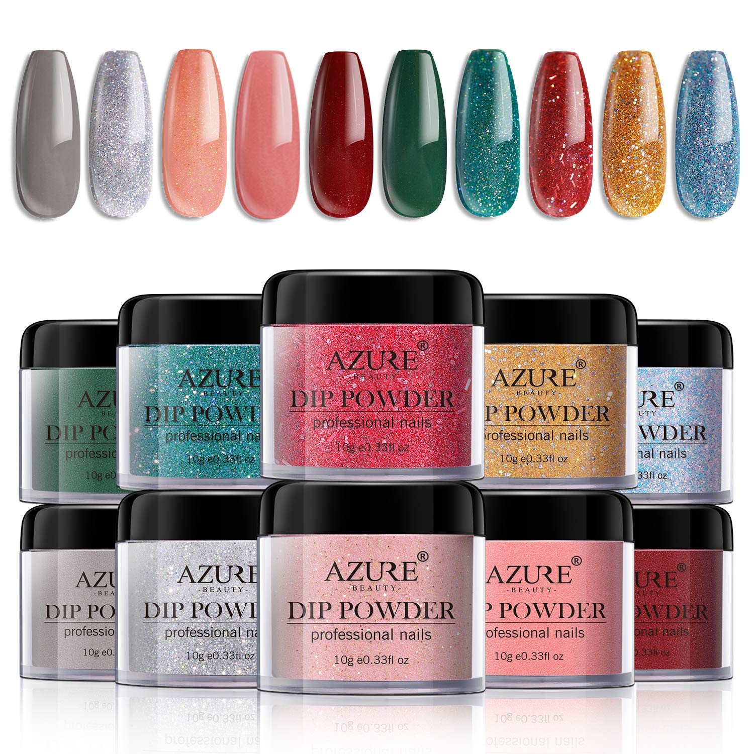 Dipping Nail Powder Set - 10 Colors Dip Powders Nails Set for Christmas with Gift Box No UV/LED Nail Lamp Needed for French Nail Manicure Nail Art by AZUREBEAUTY