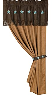 HiEnd Accents Western Embroidered Star Curtain, 60 By 84 Inch, Turquoise