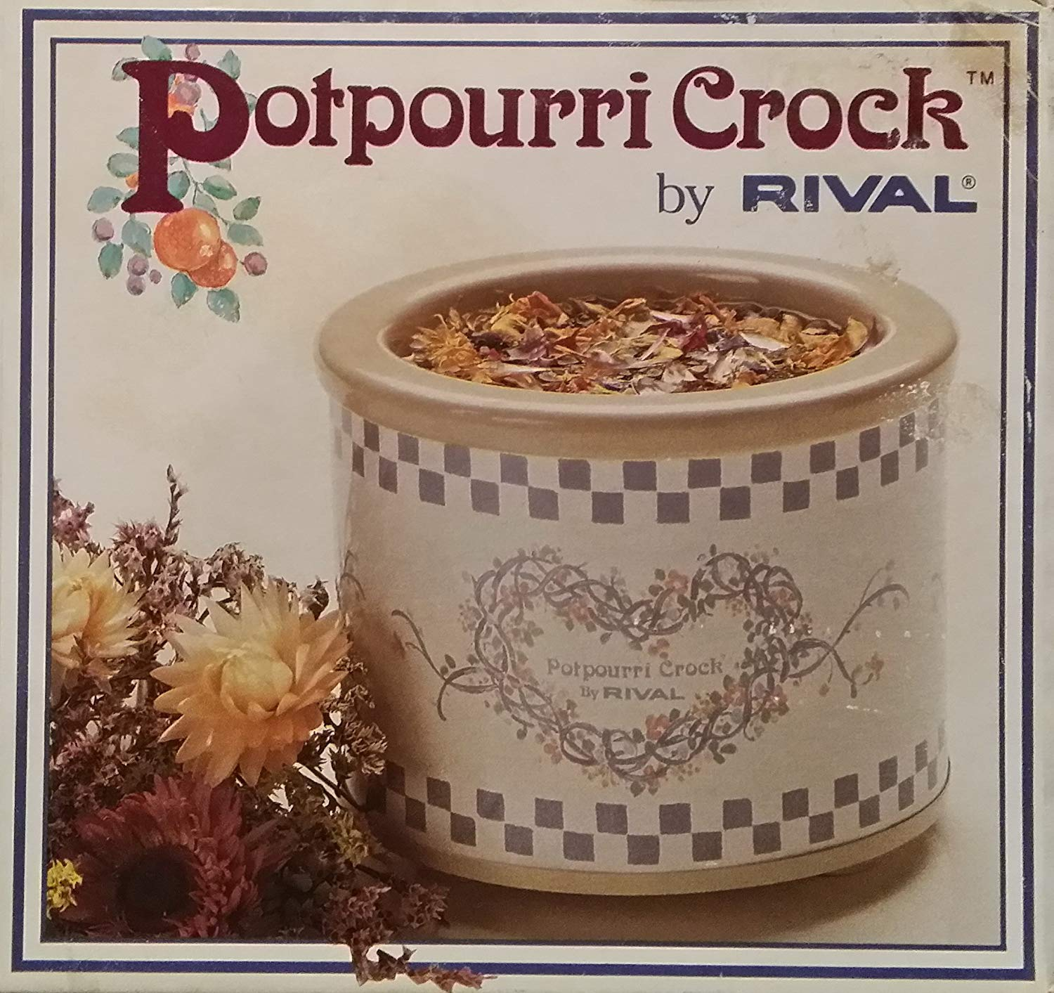 Rival Potpourri Crock Model 3206 - Heart and Checkered Pattern