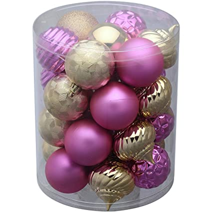26 holiday time shatterproof 2 14 christmas bulb ornaments pink