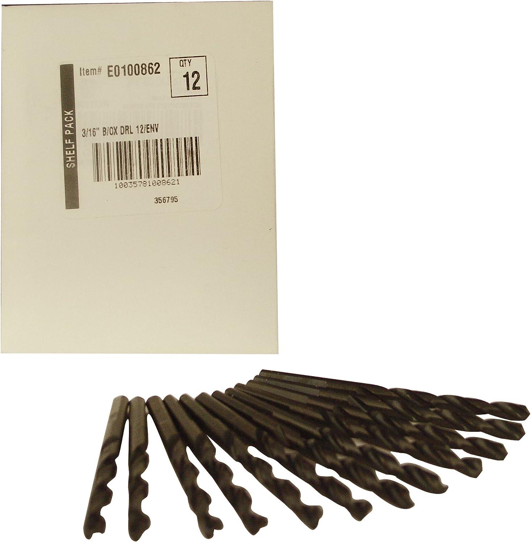 10 Pack Black Oxide Jobber Length 3//16-Inch Drill Bit