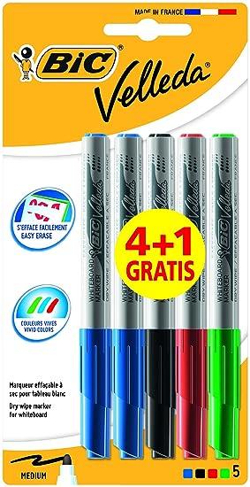 BIC Velleda 1741 Marcadores de Pizarra punta media (4,5 mm) - colores Surtidos, Blíster de 4+1