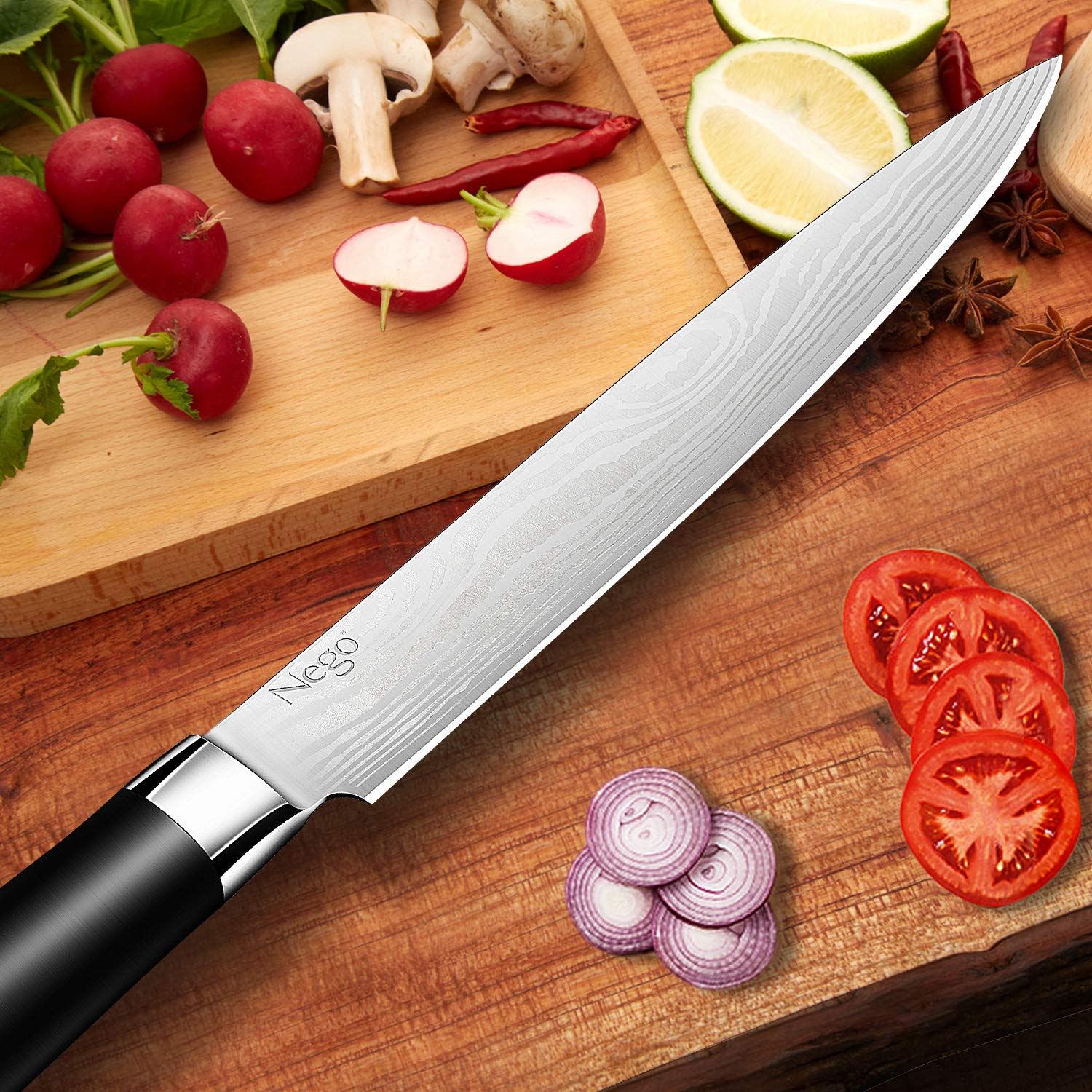 Sashimi Knife - Kitchen Knife - 8.5 Inch Chef's Knife - German High Carbon Stainless Steel With Ergonomic Handle Protective Finger Guard - Cooking Knife Chef Knives Vegetable Cleavers by Nego (Image #3)