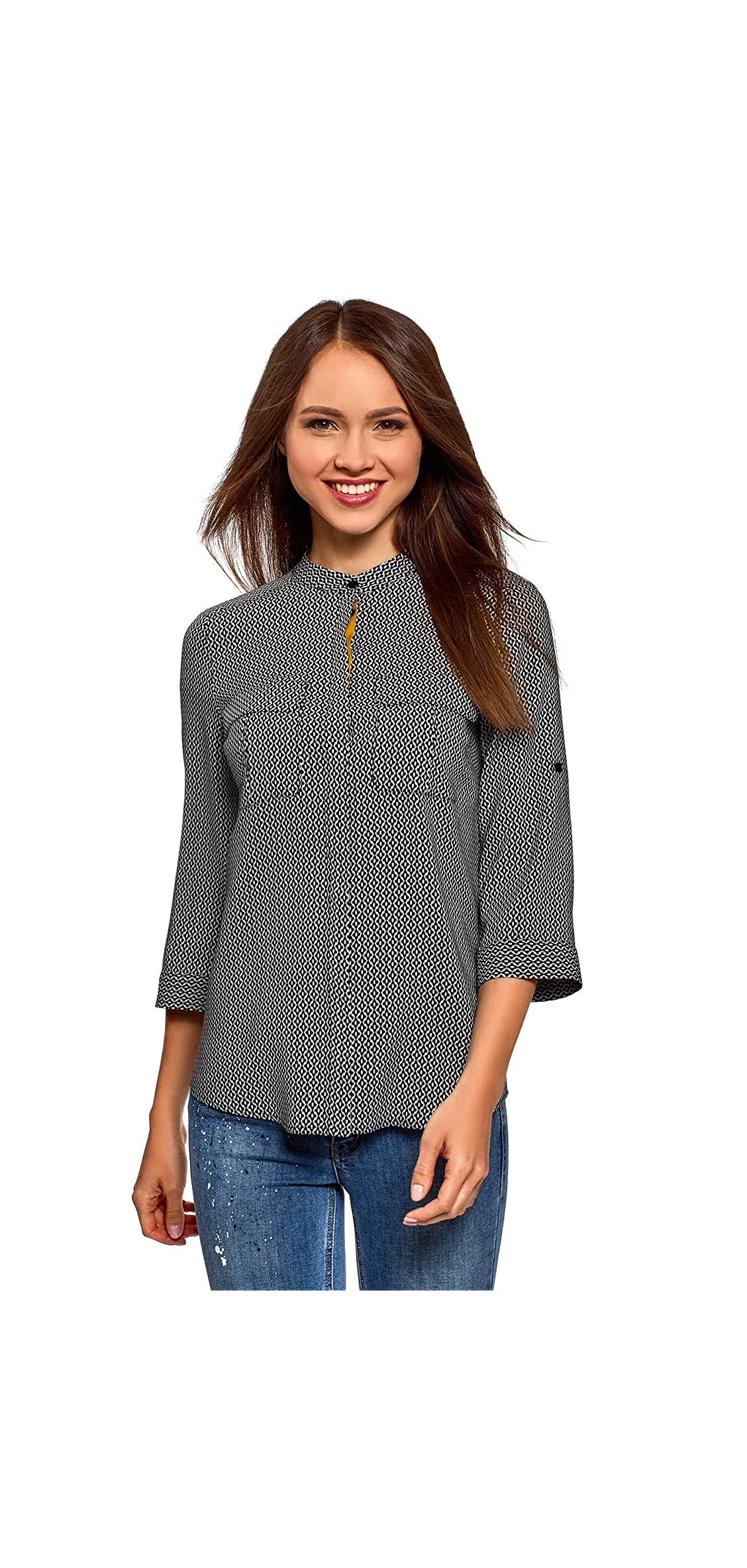 Ultra Women's Viscose Blouse With Adjustable Sleeve Length