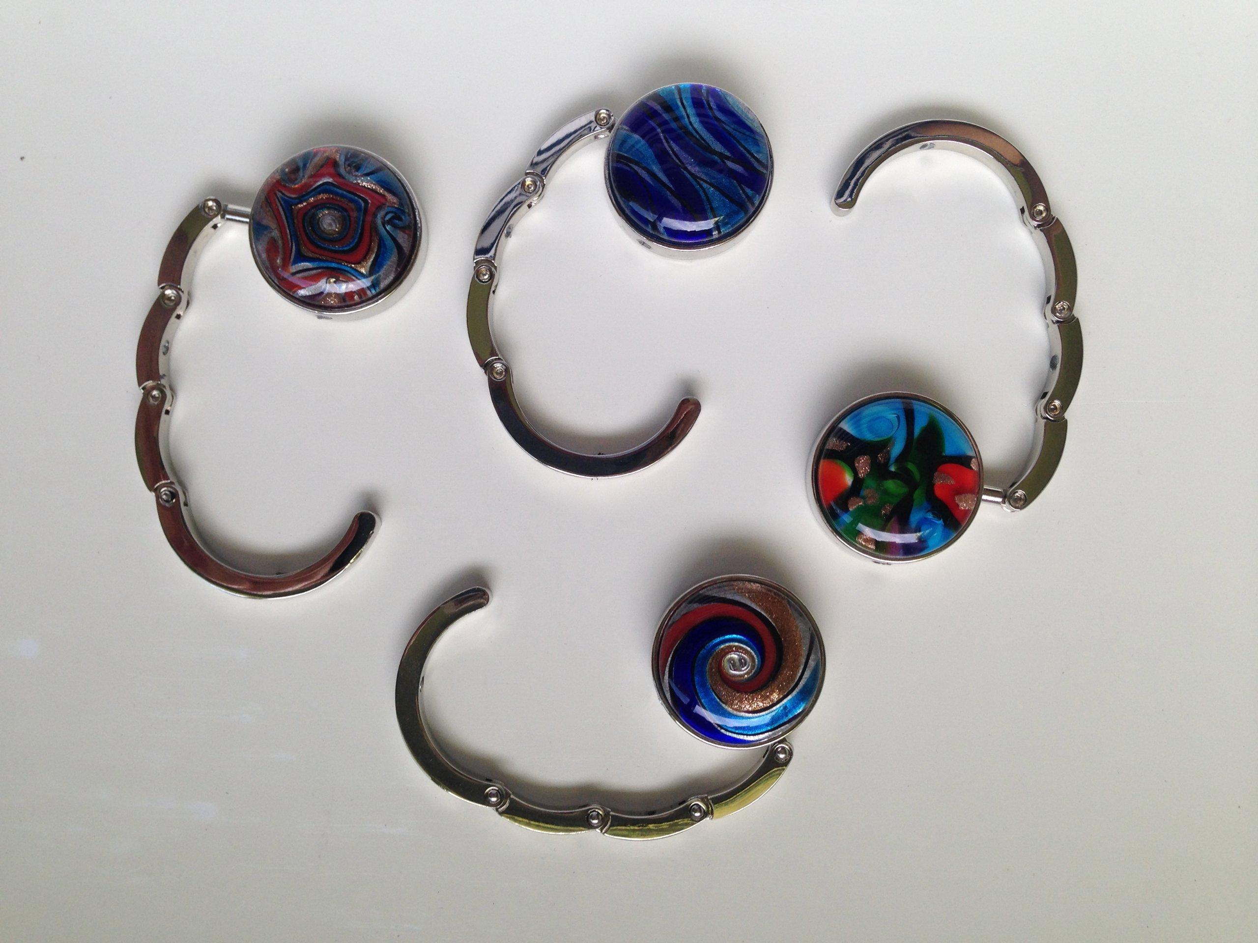 Murano Style Art Glass Folding Purse Handbag Hook Hanger 4 Piece Assortment
