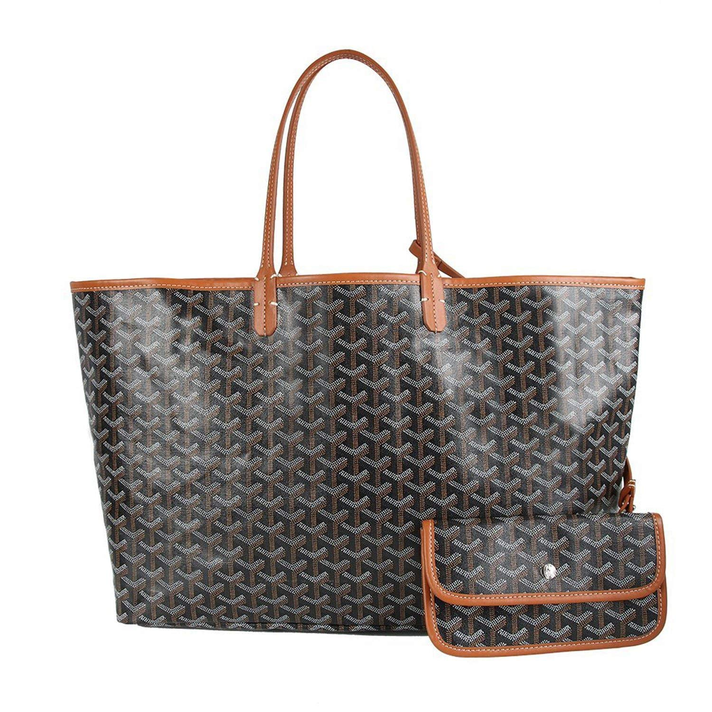 Stylesty Fashion Shopping PU Tote Bag, Designer Shoulder Handbags with Key Ring (Large, Black Brown)