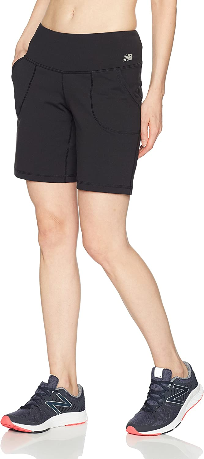 New Balance Women's Premium Performance 8-Inch Shorts, Black, X-Small