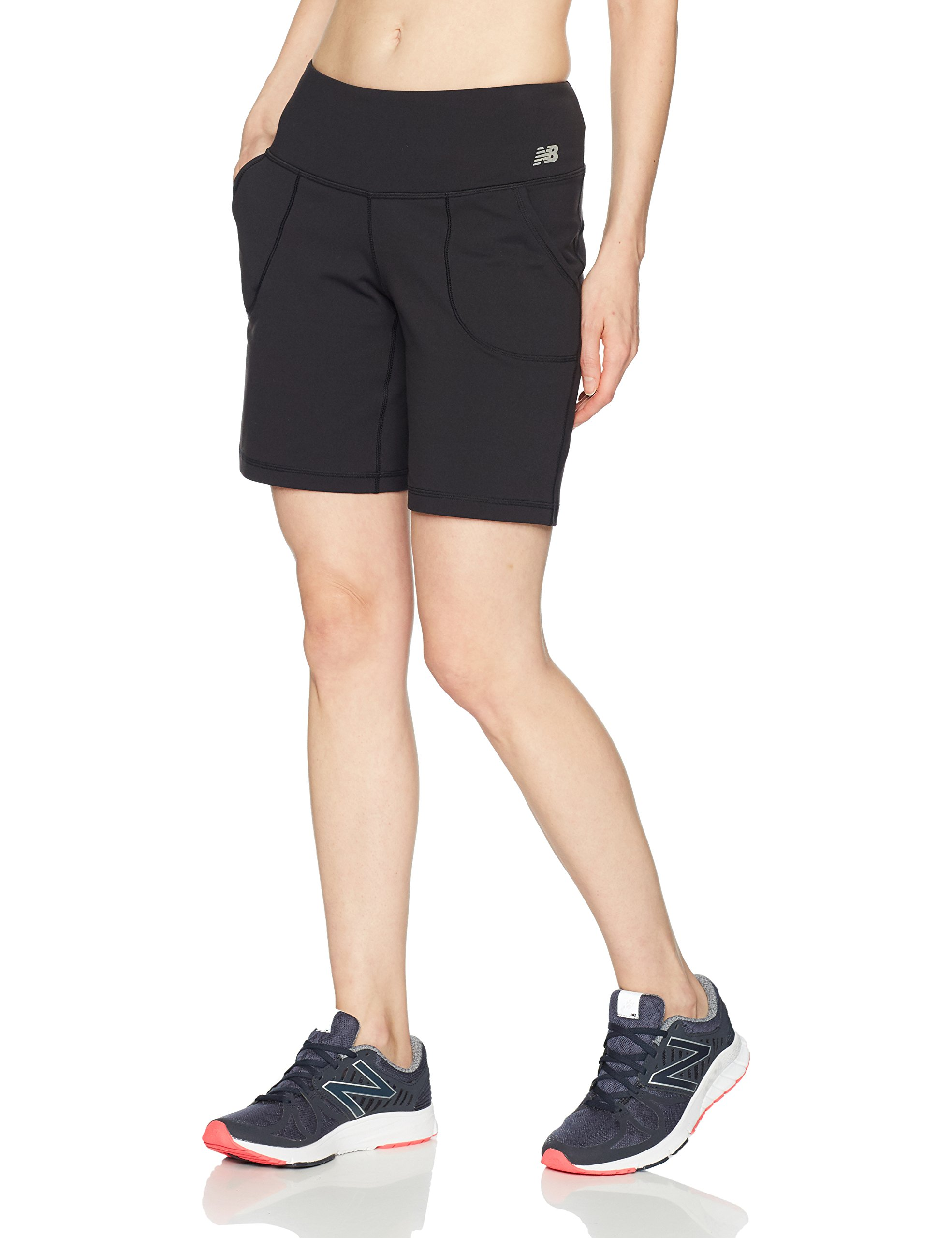 New Balance Women's Premium Performance 8-Inch Shorts, Black, Large by New Balance