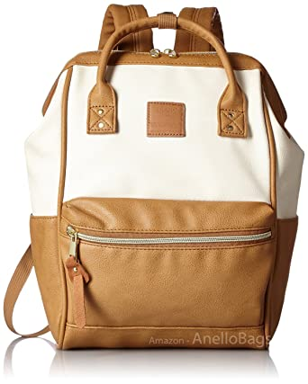 e7d79a2796aa Japan Anello Backpack Unisex IVORY x CAMEL MINI SMALL PU LEATHER Rucksack  Bag Campus