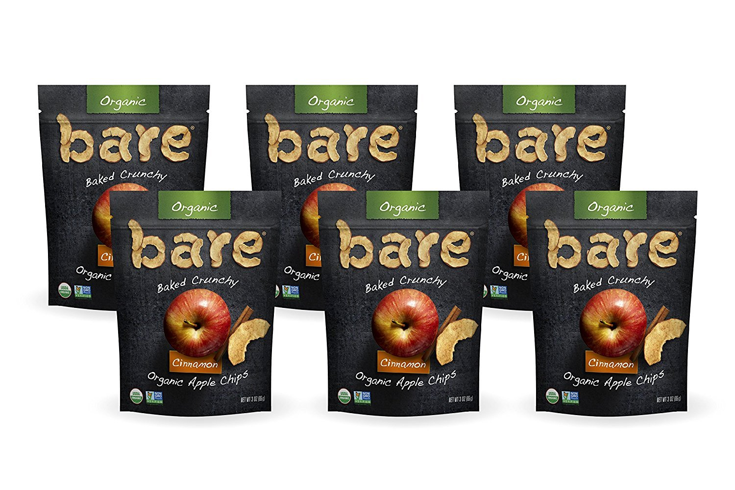 Bare Baked Crunchy Organic Apple Chips, Cinnamon, Gluten Free, 3 Ounce Bag, 6 Count
