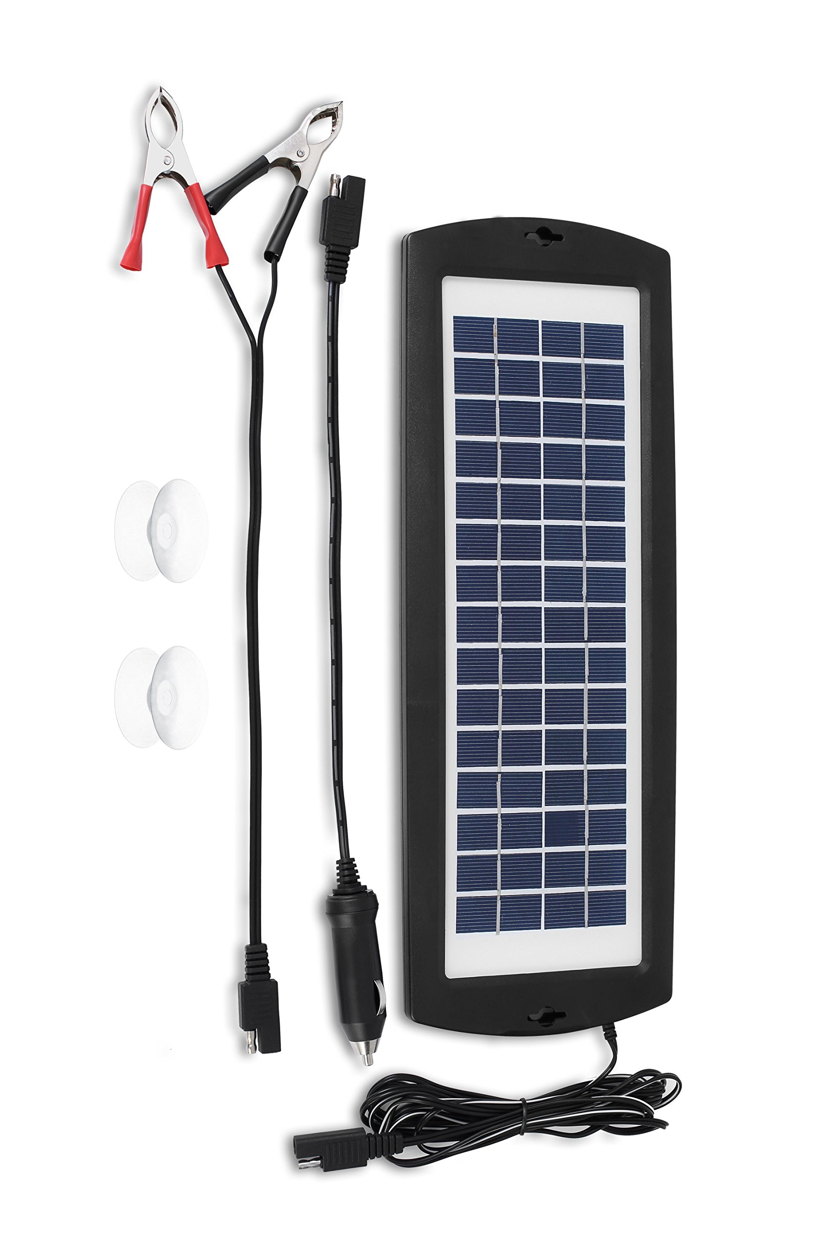 MoPower2U Solar Powered Battery Charger Tender - Light Portable and Weatherproof 12V Trickle Power Panel - Provides backup for Car Truck Motorcycle Camper RV Boat Tractor Mower Batteries by MoPower2U
