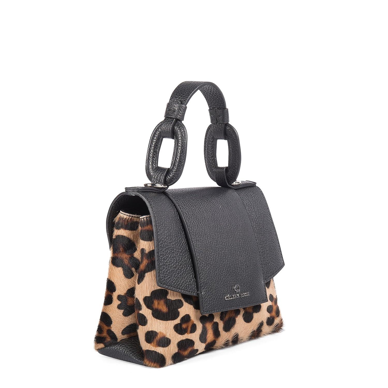 79c75e0512 Céline Dion Rococo Handle Bag Leather (Black Leopard)  Handbags  Amazon.com