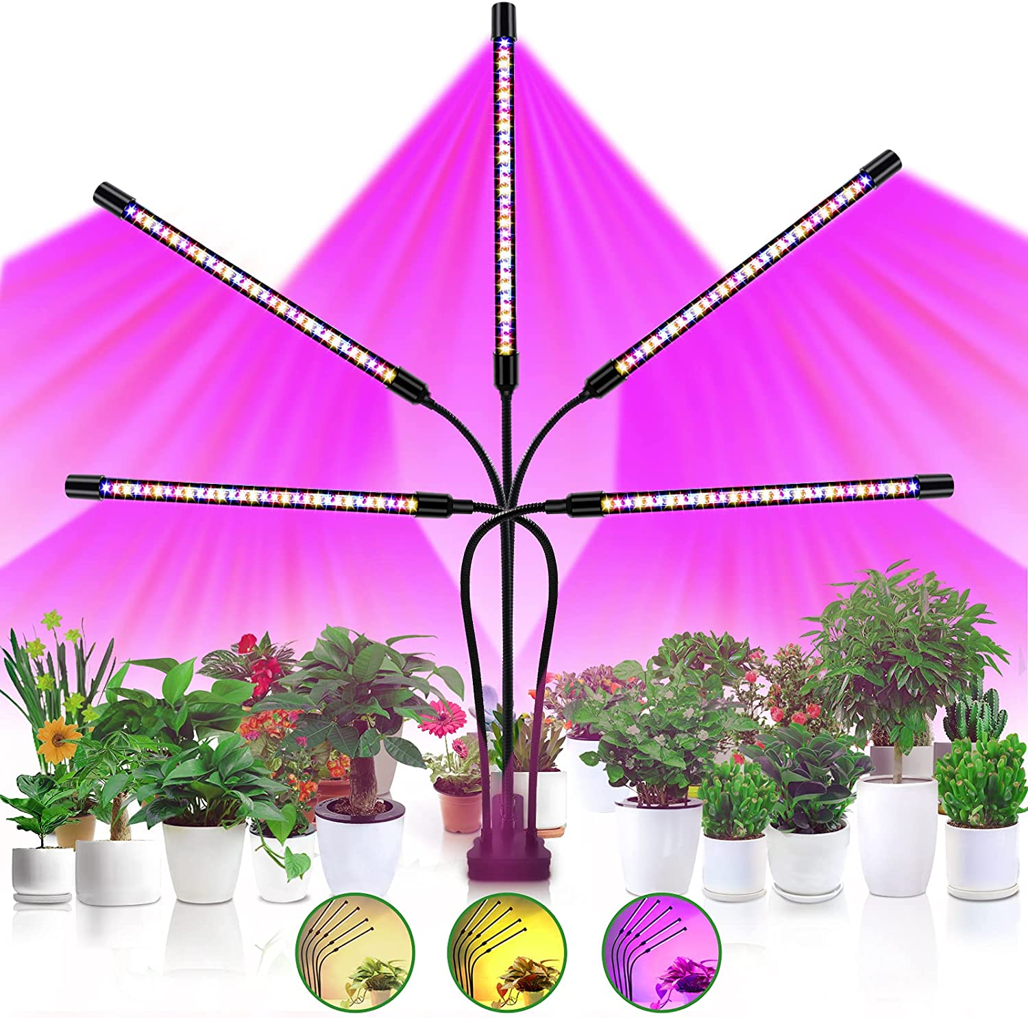 Grow Light Craftersmark Plant Lamps 150 LEDs 10 Dimmable Levels Full Red Blue Spectrum Auto ON & Off Timer Adjustable Gooseneck for Seedling/Rooting/Blooming, 5 Heads