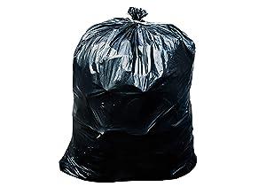 "Toughbag 55-60 Gallon Contractor Trash Bags, 38""W x 58""H, 3.0 Mil (50, Black)"