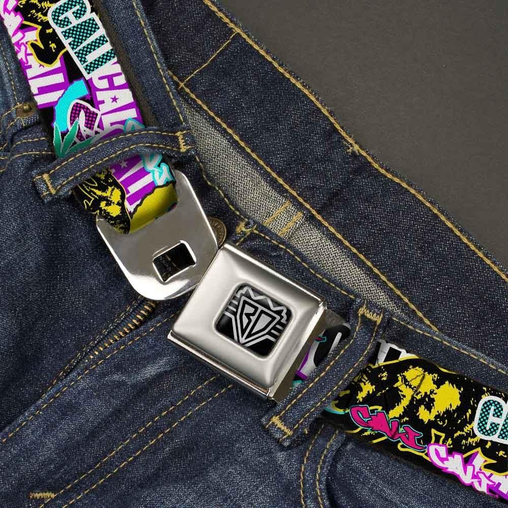 Buckle-Down Seatbelt Belt Cali Bear//CALI Graffiti//Pot Leaves Black//Multi Color 32-52 Inches in Length 1.5 Wide