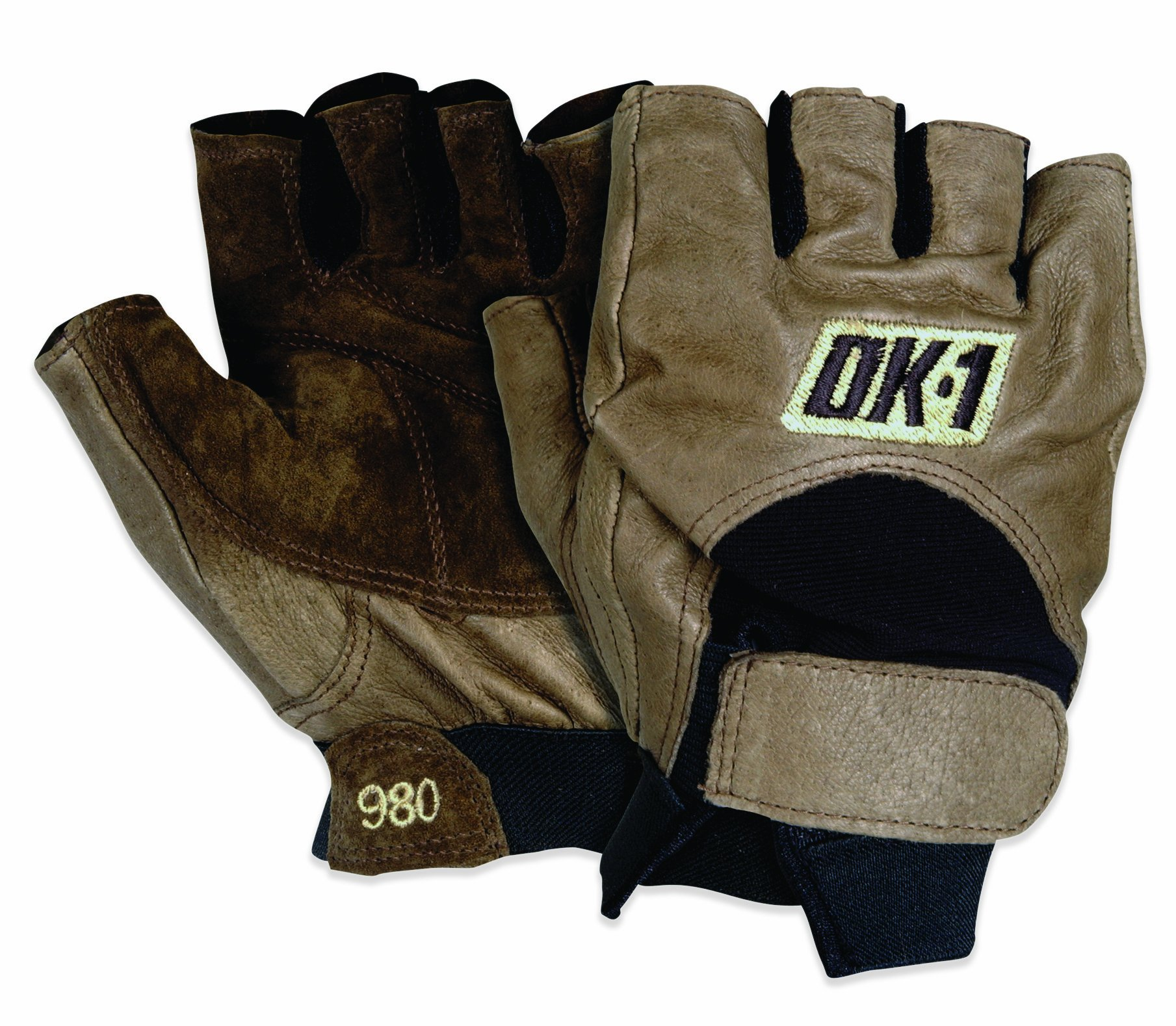 OK1 GLV1027L Half-Finger Impact Gloves, Large, Brown (Case of 4) by Unknown (Image #1)