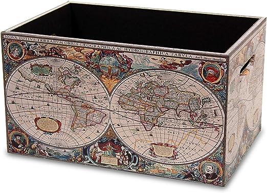 MIMBRE NATURAL Caja Madera Mundo (36x24x20): Amazon.es: Hogar