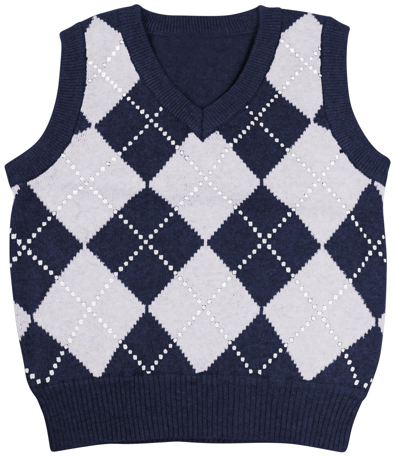 Enimay Kids Knit Sweater Vest V-Neck Argyle Pattern Pullover Navy | Grey 11-12 Year