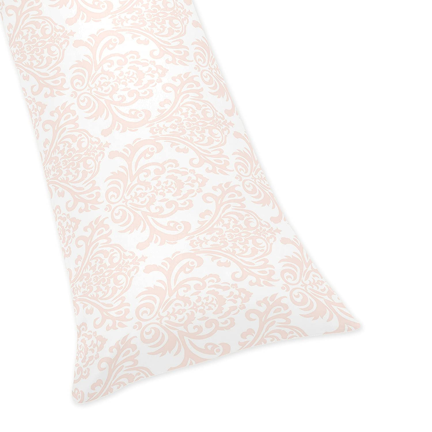 Sweet Jojo Designs Pink Damask Full Length Double Zippered Body Pillow Case Cover for Amelia Collection