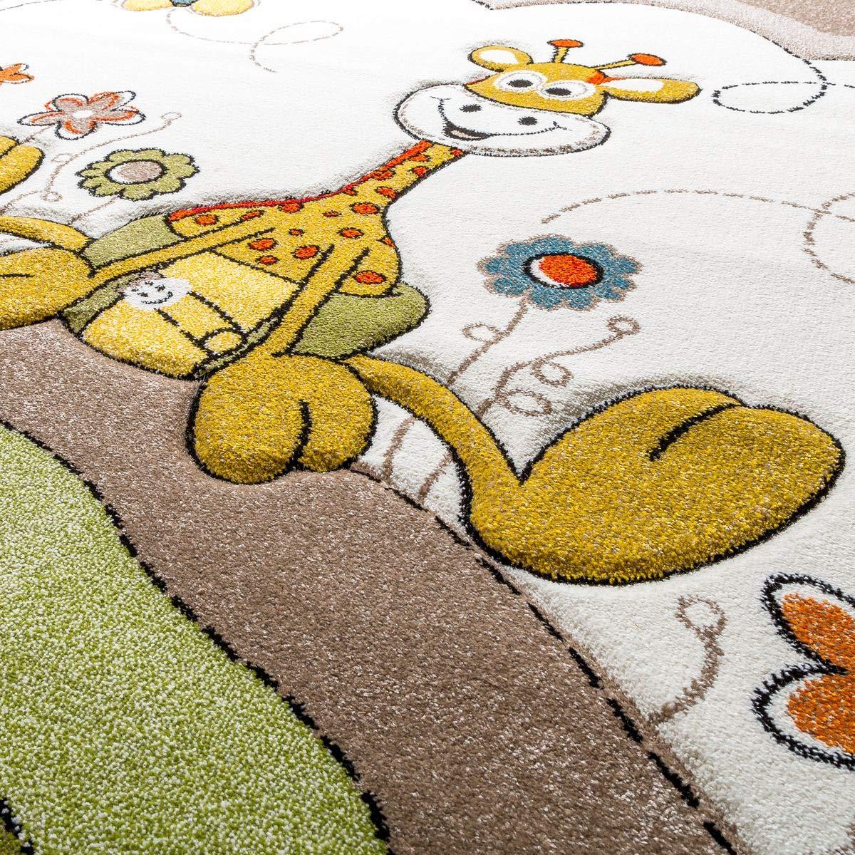 Kinder Teppich Moderner Spielteppich Giraffe Blaumen Pastell Pastell Pastell Töne In Beige Creme, Größe 200x290 cm B07HLC9J98 Teppiche & Lufer 4eae8b