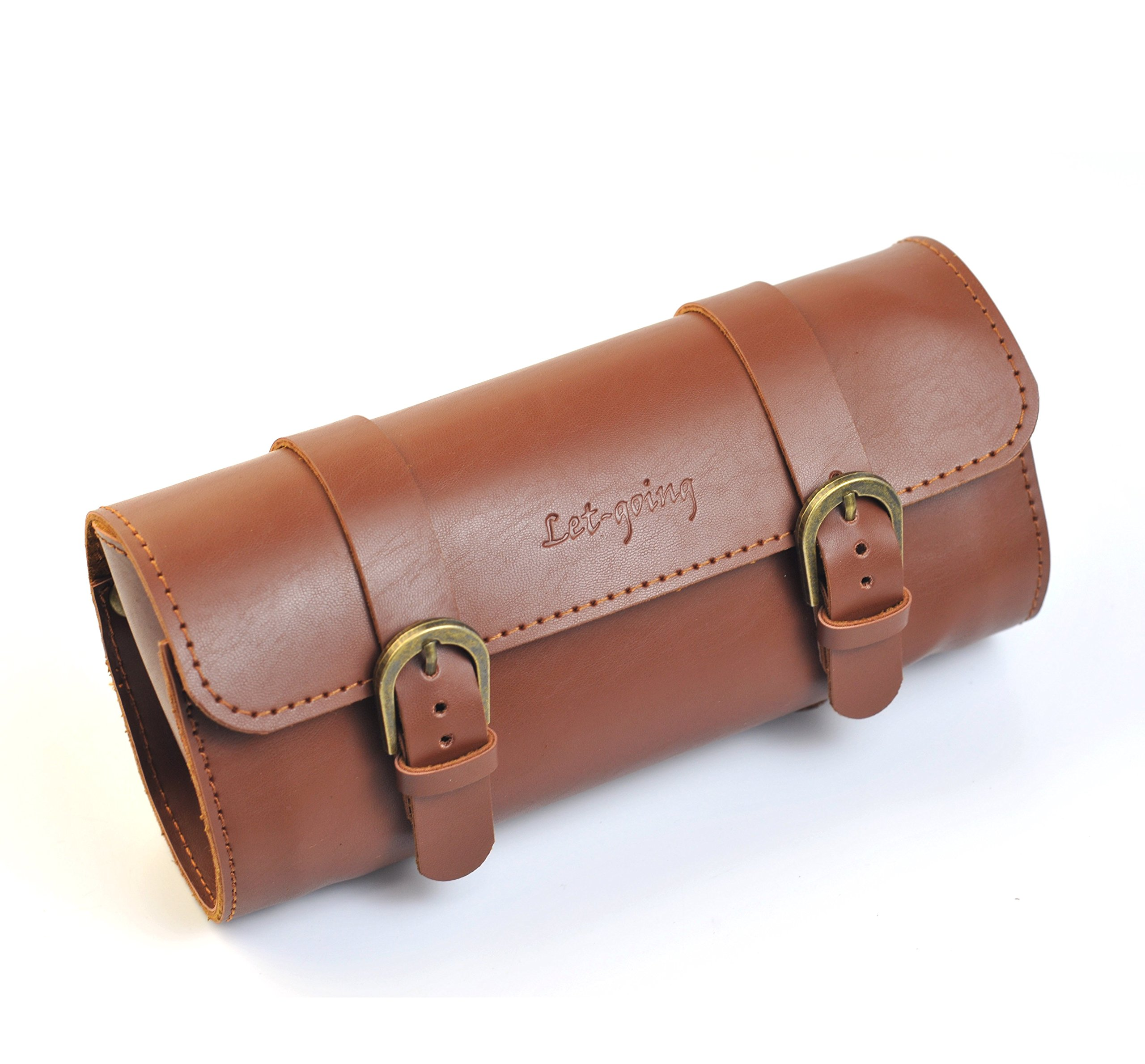 QO Cycling Handmade PU Saddle Vintage Backpack Tools Big Bag 22116cm (Brown)