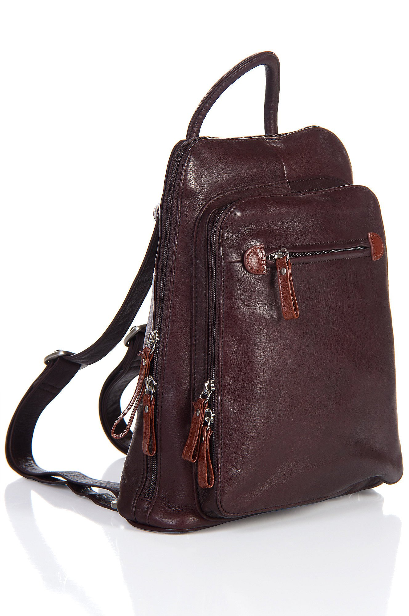 Macy Leather Backpack Handbag, RAISIN/WHISKEY, Size 1 Size by Overland Sheepskin Co