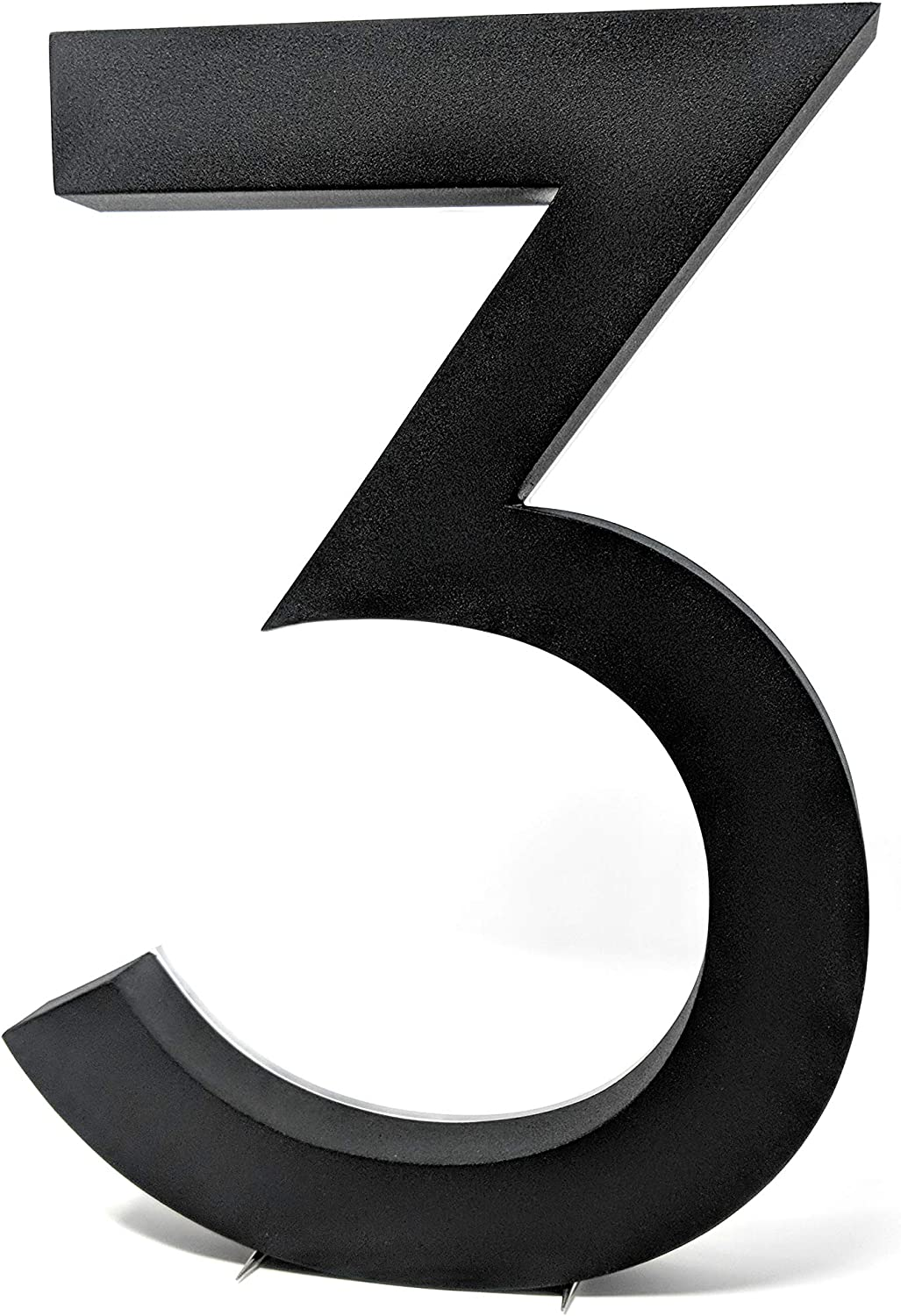 12 Inch Backlit LED House Numbers | Big, Modern Lights Address Signs for Homes | Soft, Exterior Glow | Stainless-Steel Black Finish | Weather Resistant, Durable | by JELSCO (3, Neutra Black)