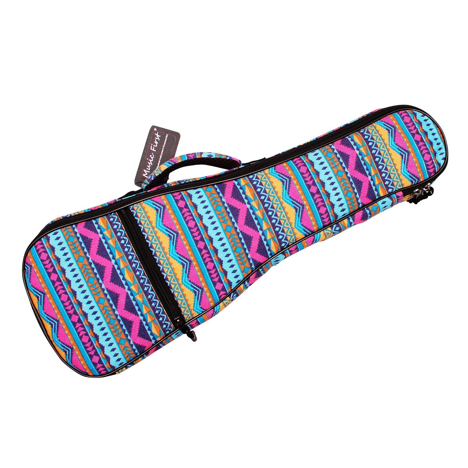 MUSIC FIRST Cotton 21'' Soprano Pink Geometric Patterned Ukulele Bag Ukulele Cover Ukulele Case Version 2.0