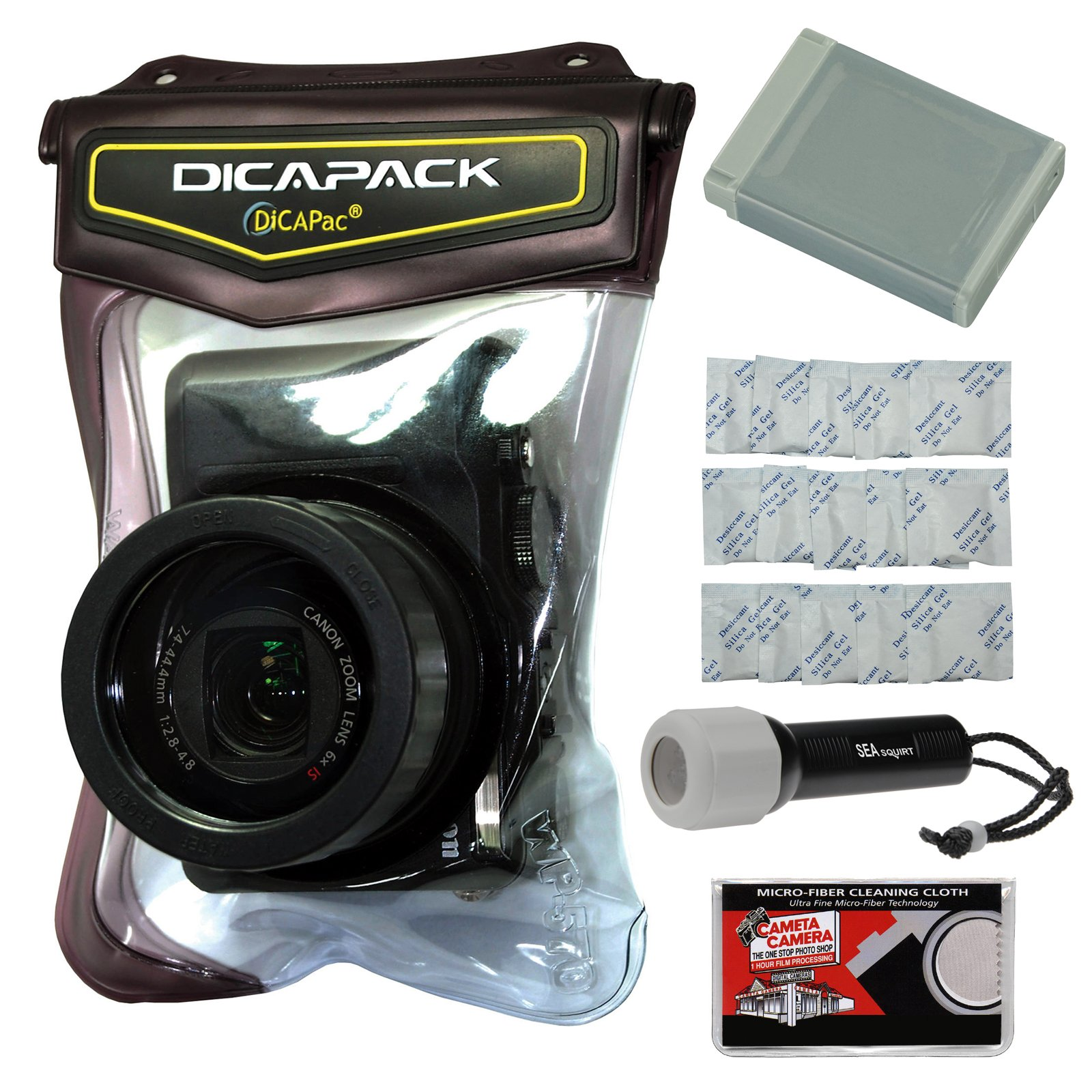 DiCAPac WP-570 Waterproof Case with NB-13L Battery + LED Torch + Gel Packets + Kit for Canon Powershot G7 X II, G9 X II, SX720, SX730, SX740