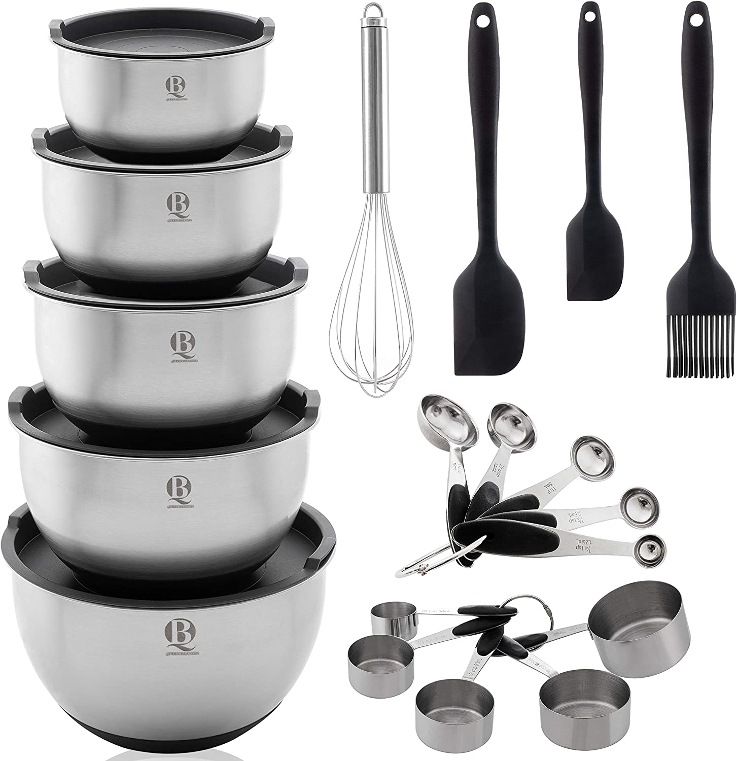 Queen Brands Mixing Bowls set of 5 - Stainless Steel Nesting Bowls with Airtight Lids Measurements Lines & Silicone Non-Slip Bottoms - Measuring Cups & Spoons Stackable Great for Baking 19 pieces