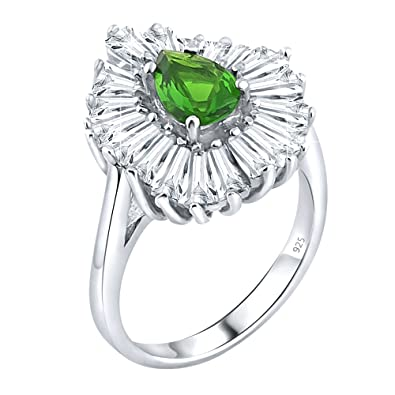 f5c99ded01d86 Amazon.com: Women's Sterling Silver .925 Ring Green Pear Shaped ...