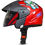 ACTIVE Junior Open Face Face Helmet for Kids from 3 to 6 Years (RED,Size-Extra Small)(CARTOON CHARACTERs MAY VERY) (RED)
