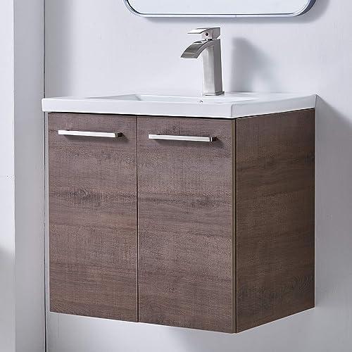 Mogiyin Modern 24 Brown Wall-Mounted Bathroom Vanity