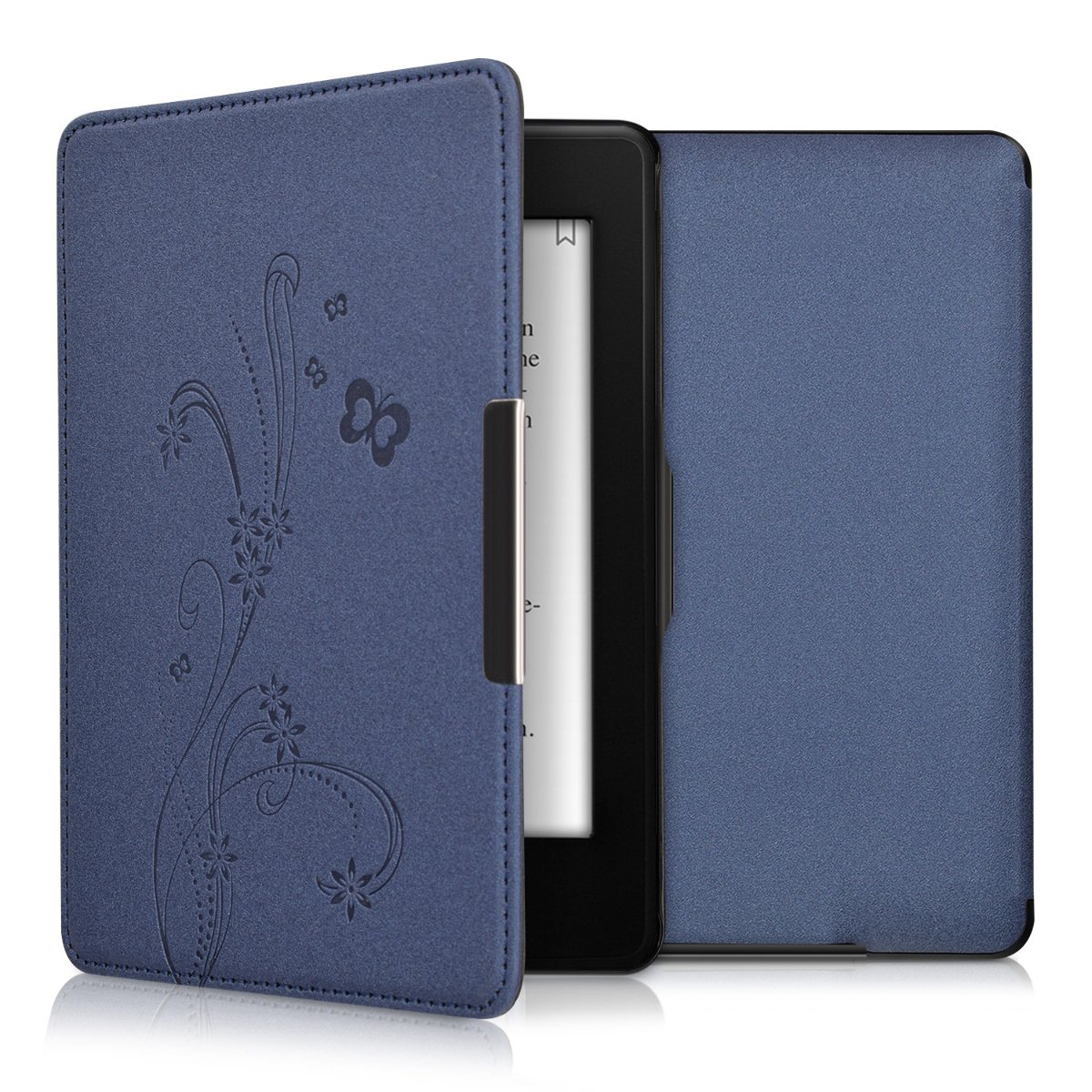 kwmobile Case for Amazon Kindle Paperwhite - Book Style PU Leather Protective e-Reader Cover Folio Case - dark blue