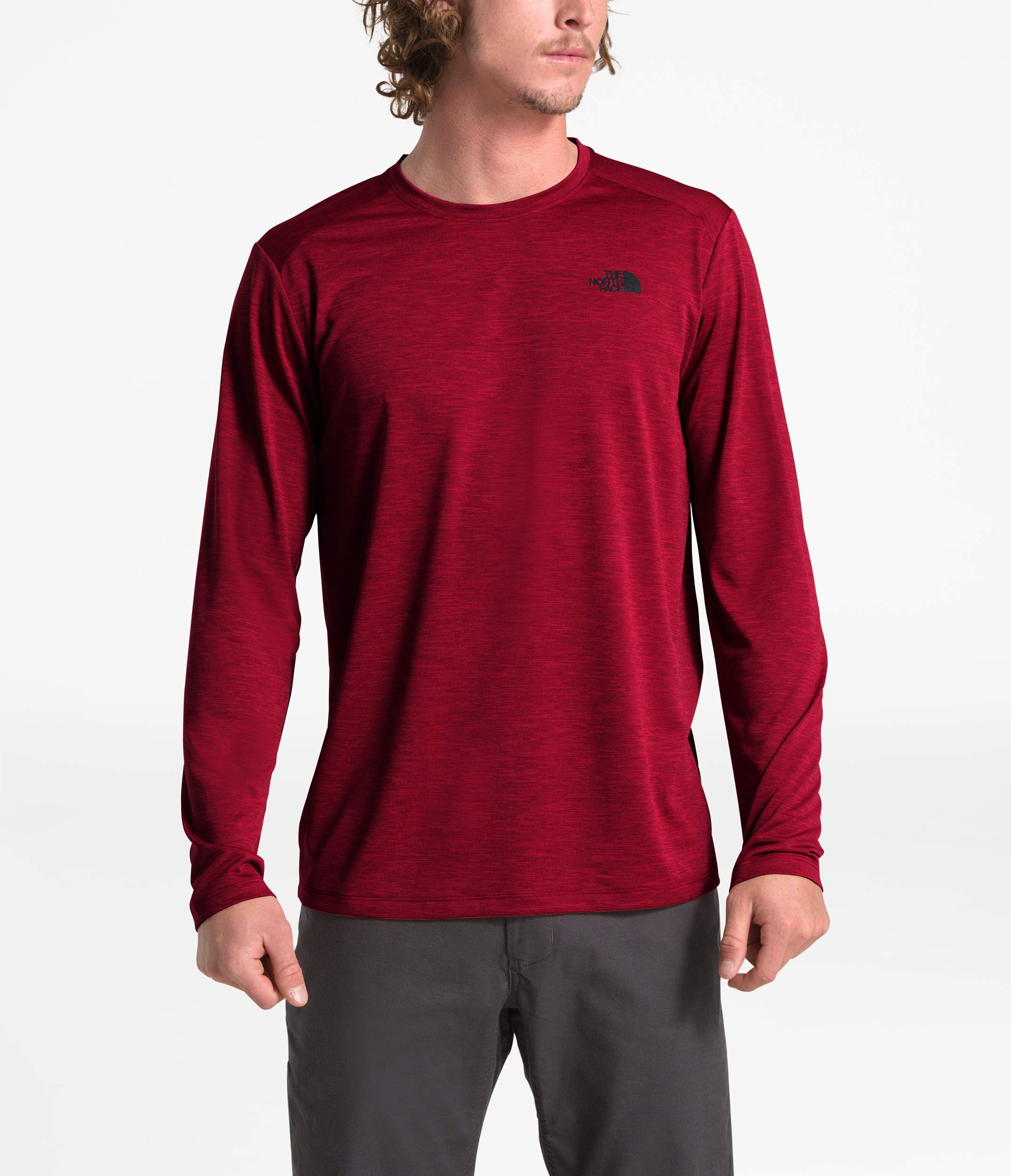 The North Face Men's Hyperlayer FD Long-Sleeve Crew Cardinal Red Heather by The North Face
