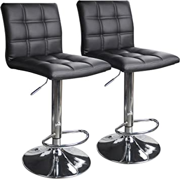 Modern Square PU Leather Adjustable Bar Stools - Top Pick Bar Stools