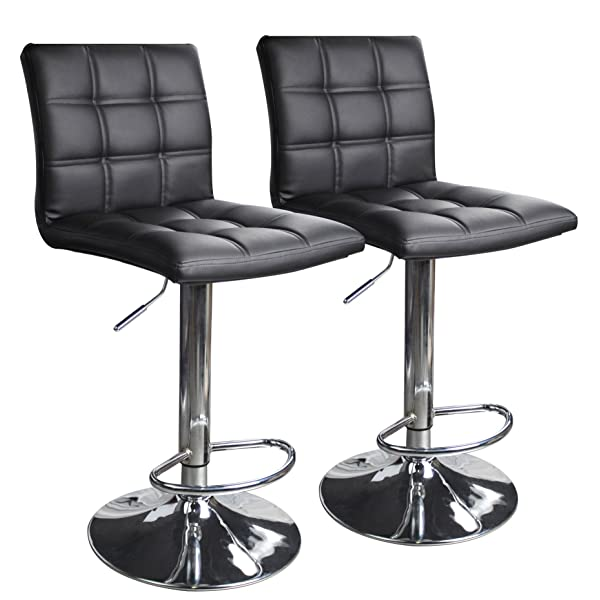Modern Square PU Leather Adjustable Bar Stools with Back,Set of 2,Counter Height Swivel Stool by Leopard (Black)