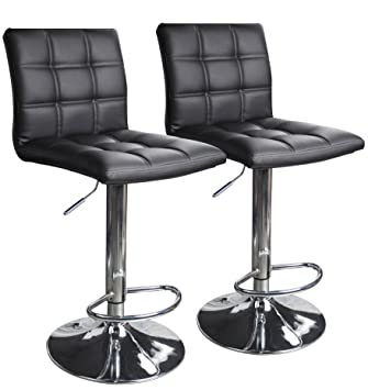 Modern Square Leather Adjustable Bar Stools with Back Set of 2 Counter Height Swivel